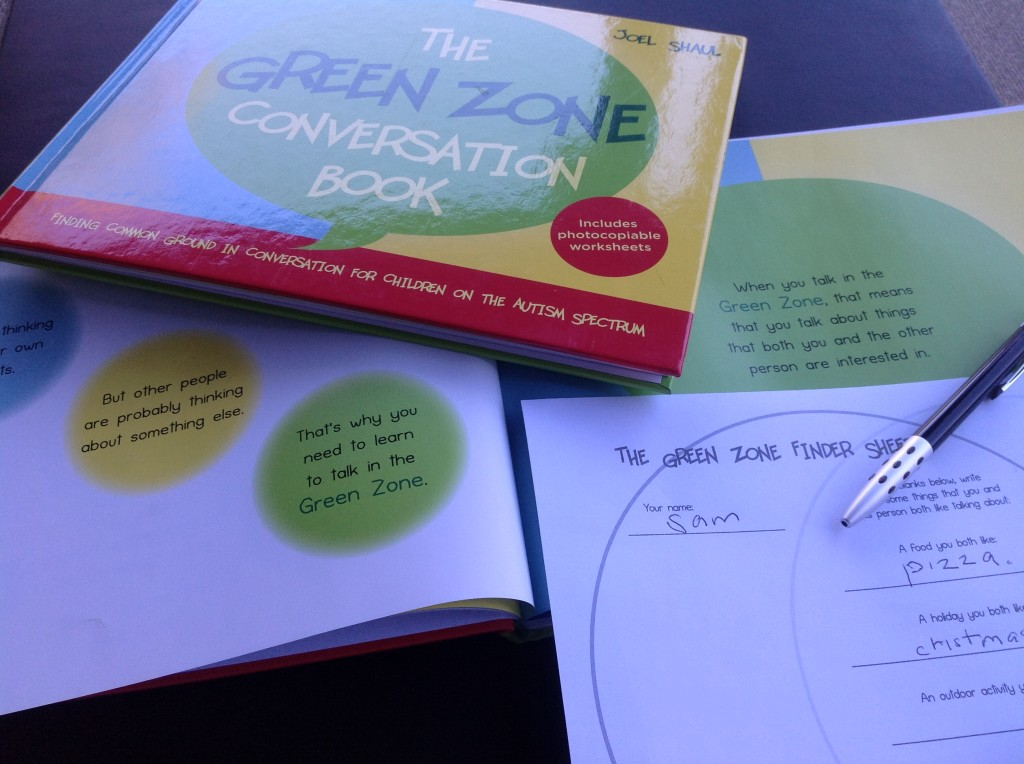 Green Zone Conversation Book and worksheet