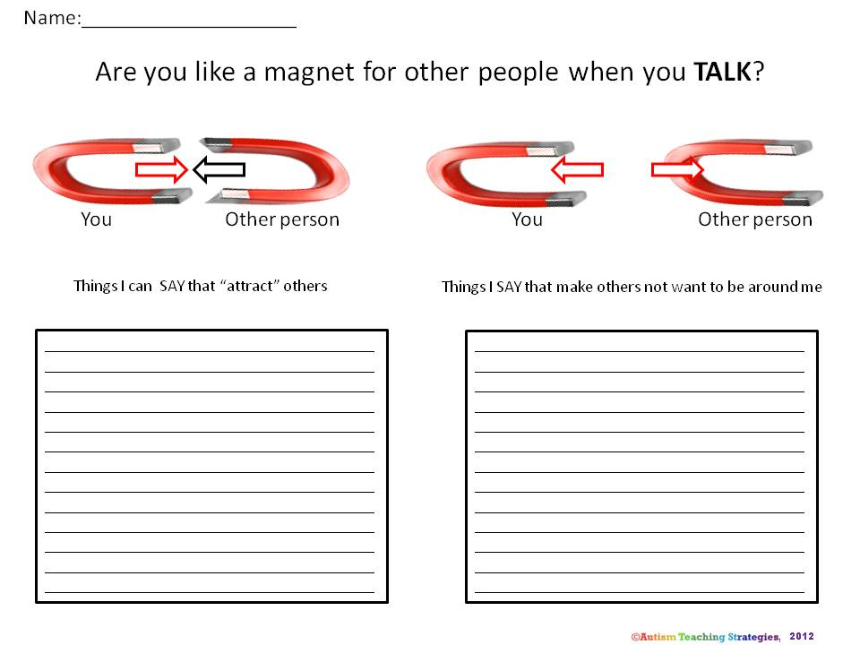 Visual strategies for autism social skills training Part 2 Using – Magnet Worksheet