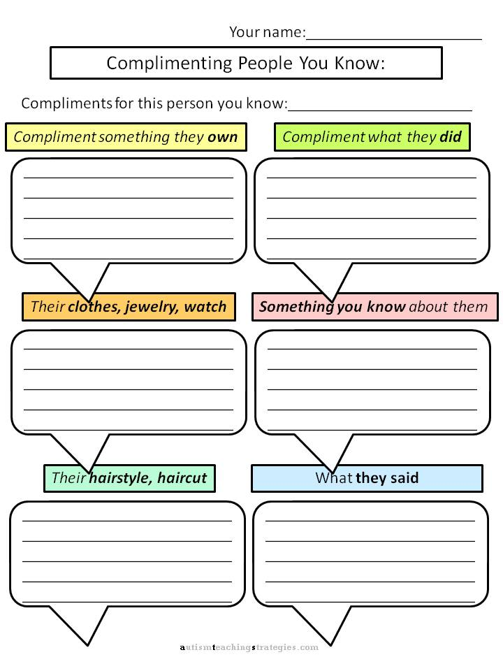 Printables Social Thinking Worksheets helping kids with aspergers to give compliments worksheets for autism social skills worksheet
