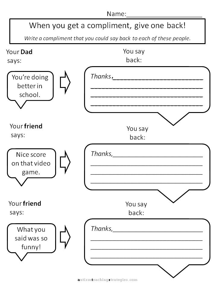 Worksheets Social Skills Worksheets For Adults helping kids with aspergers to give compliments worksheets for print