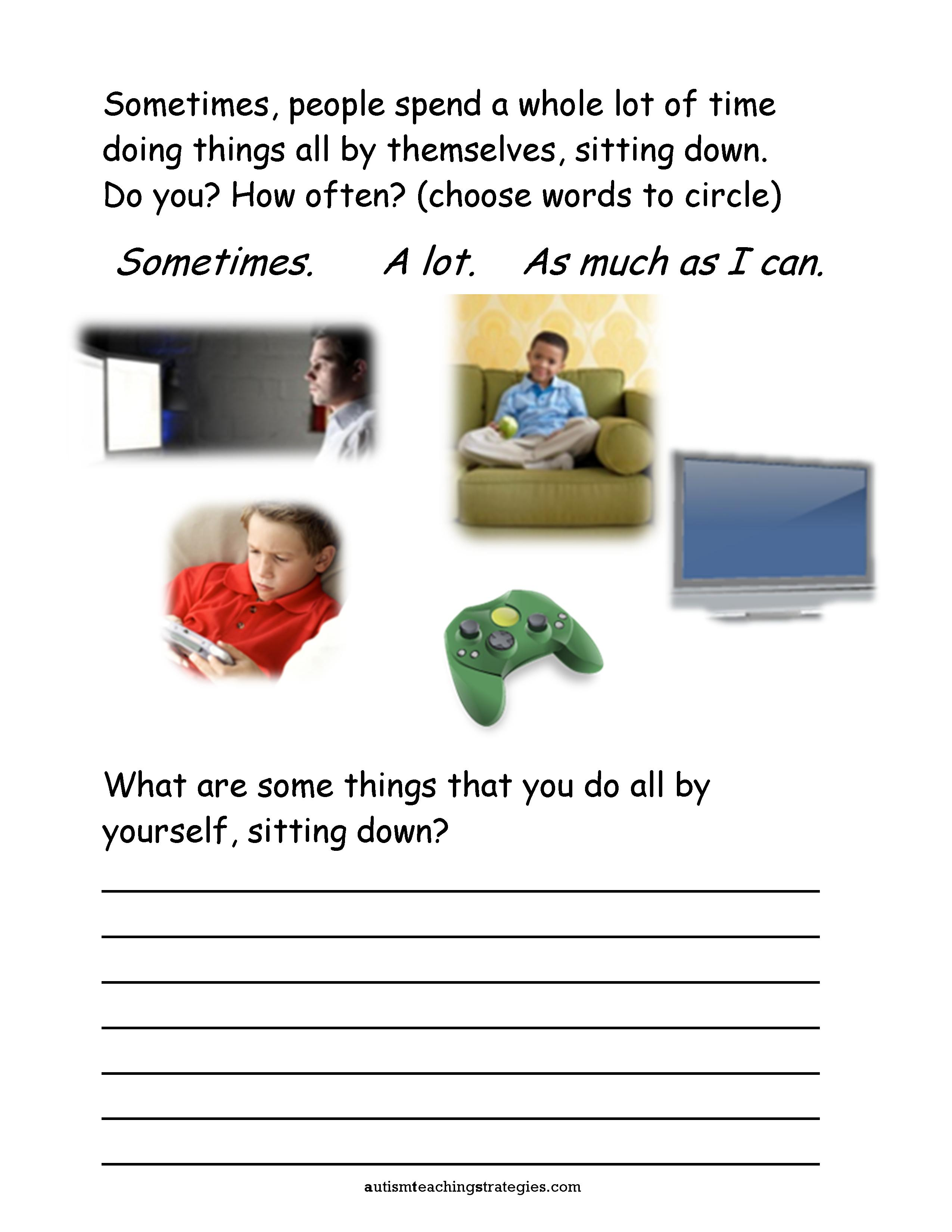 Seven social skills worksheets for kids with ASD who are socially