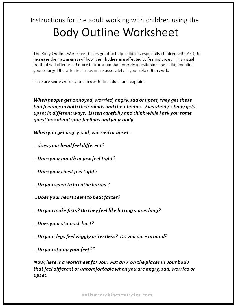 Upset Body Worksheet to help kids with ASD – Emotional Regulation Worksheets