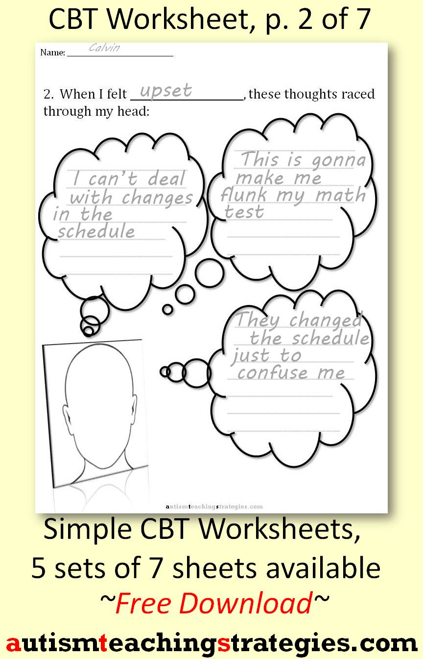 Worksheets Automatic Negative Thoughts Worksheet cognitive behavioral therapy teaching materials for children with cbt worksheets