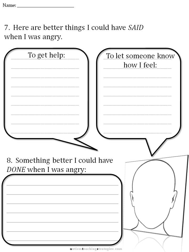 CBT Childrens Emotion Worksheet Series 7 Worksheets for Dealing – Free Anger Management Worksheets
