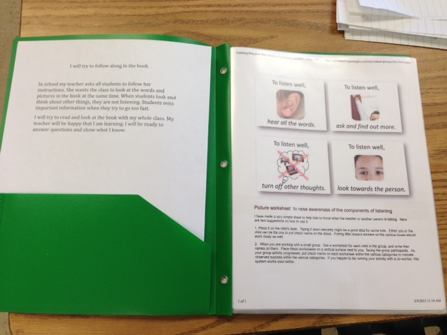 Here is one very simple use of the worksheet, sent in to me by someone who downloaded the images from the website. She put the sheet in a plastic sheet in a student's folder to reinforce his listening during class time.