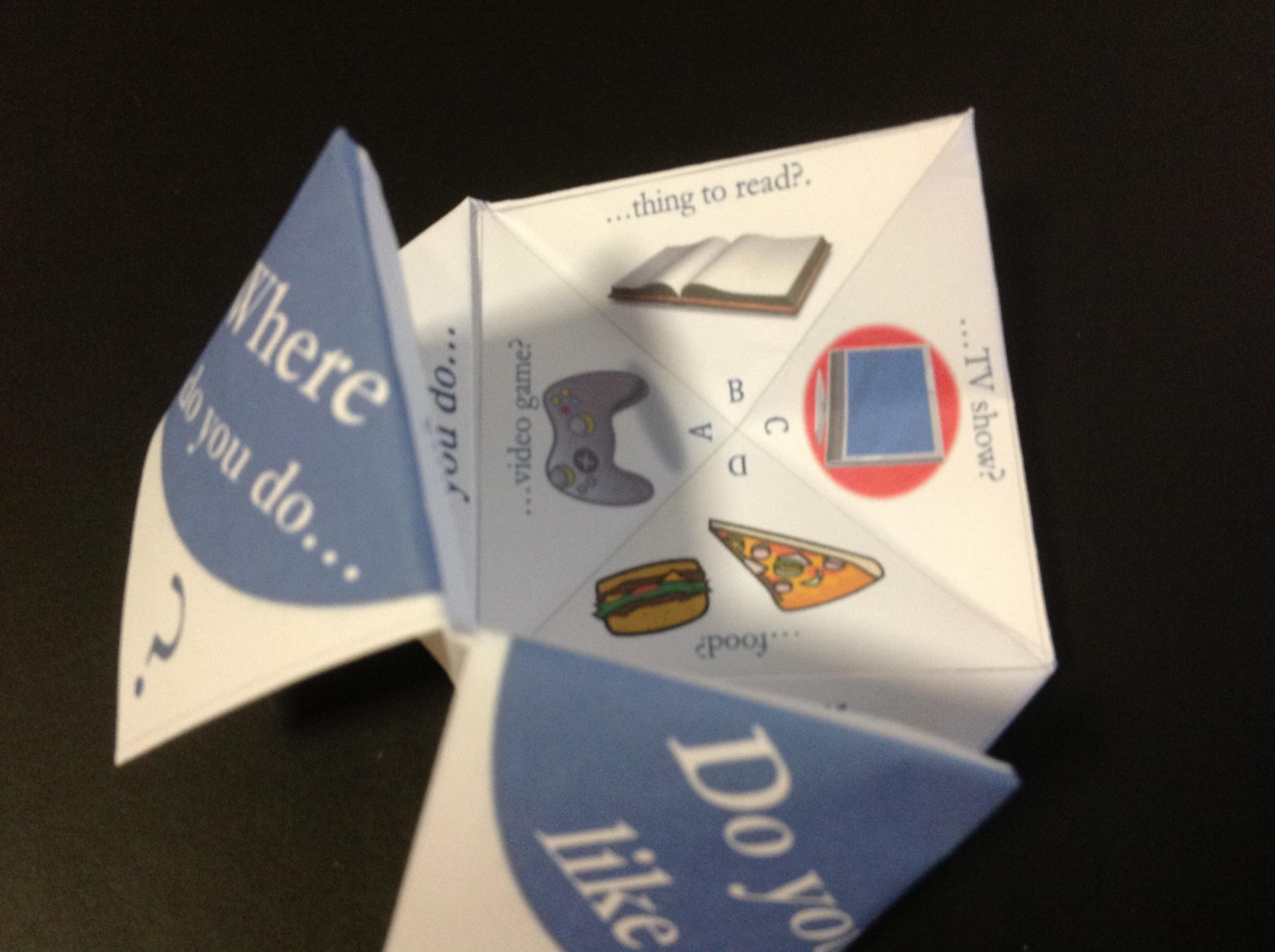 Paper Fortune Tellers – social skills games for children ... - photo#38