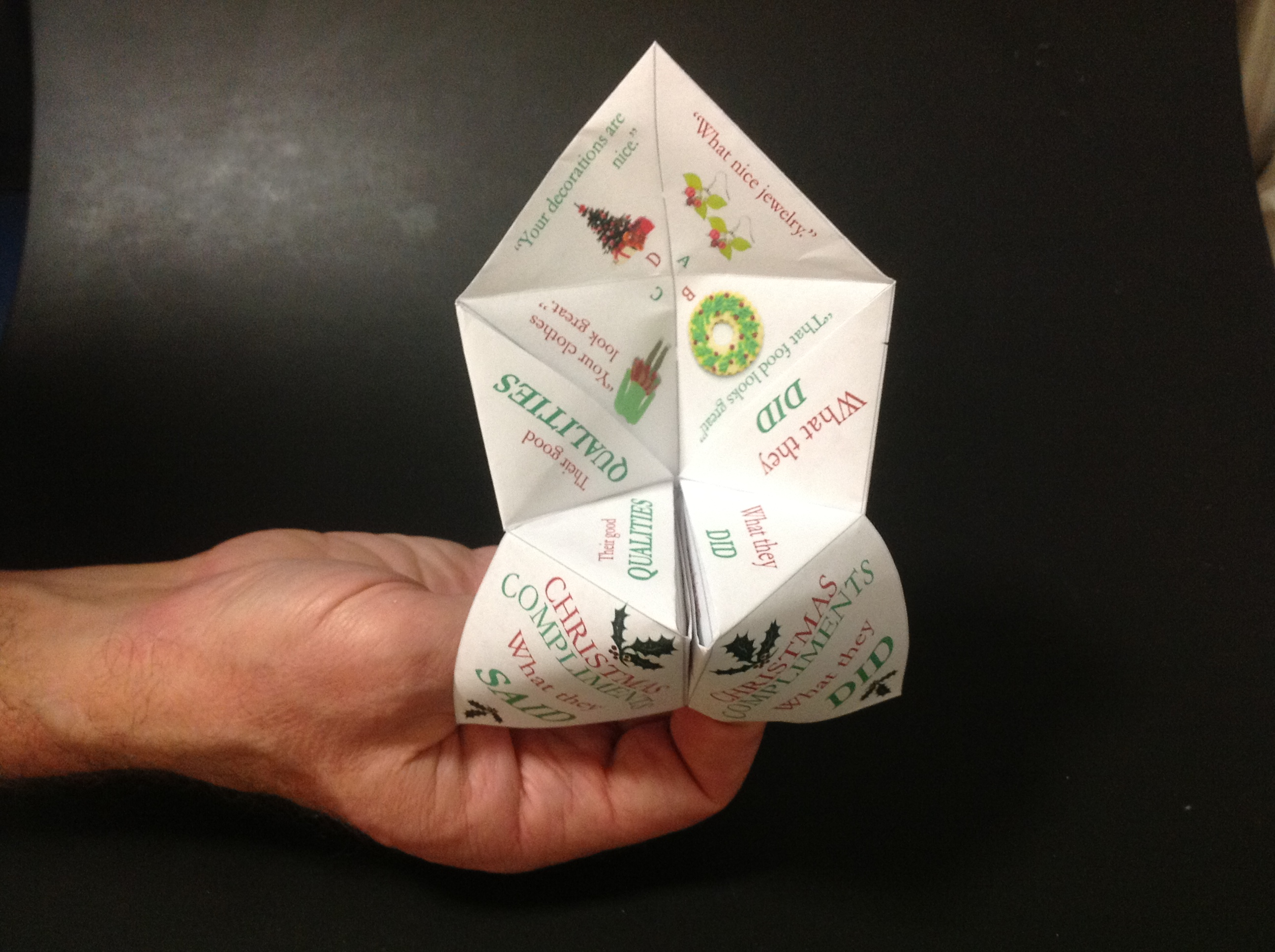 Christmas social skills paper fortune teller for kids with ... - photo#32