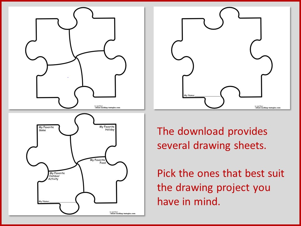 click here puzzle piece drawing activity free download 2 - Children Drawing Sheets